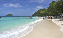 Coral Island offers great snorkeling off its two beaches, Long Beach and Banana Beach.