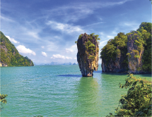 James Bond Island is a famous landmark in Phang Nga Bay. James Bond movie: The Man with the Golden Gun.
